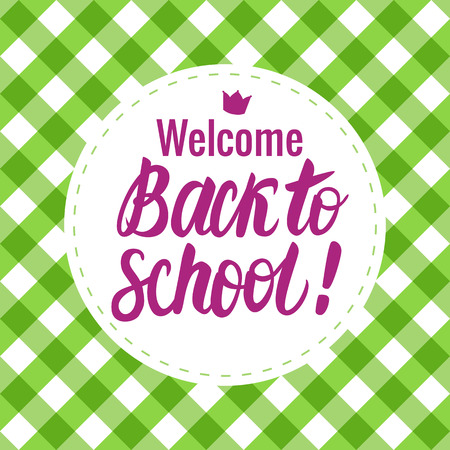 Vector card Back to school lettering. Round icon on a checkered background. Childrens design. Stock Photo