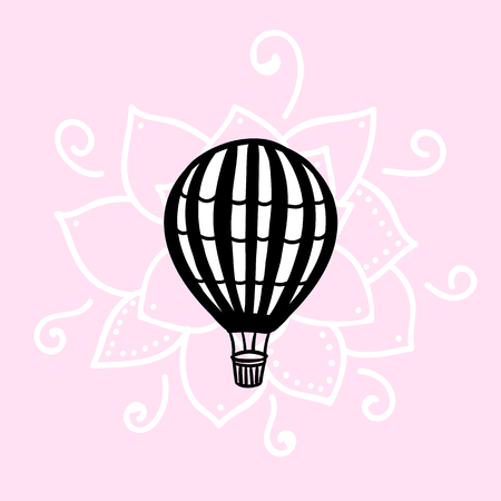 Vector Air Balloon hand draw isolated on pink background Stock Photo