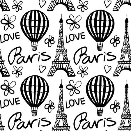 Vector Seamless Pattern Balloon and Paris Eiffel Tower Monochrome