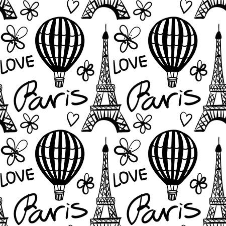 Vector naadloze patroon ballon en Parijs Eiffeltoren zwart-wit