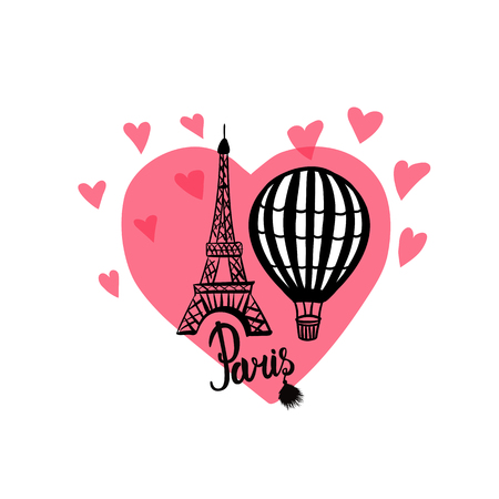 Vector hand draw Air Balloon and Paris Eiffel Tower isolated on pink heart Banque d'images - 104086920