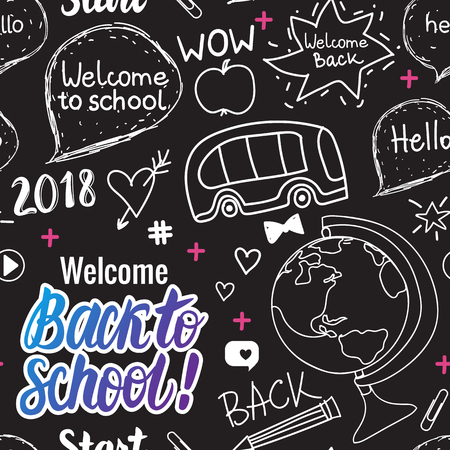 Welcome Back to school 2018 seamless pattern. Vector hand draw set elements on black chalk board.