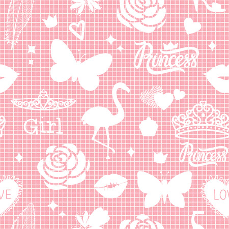 Vector cute summer symbols modern seamless fashion design pattern for girls.