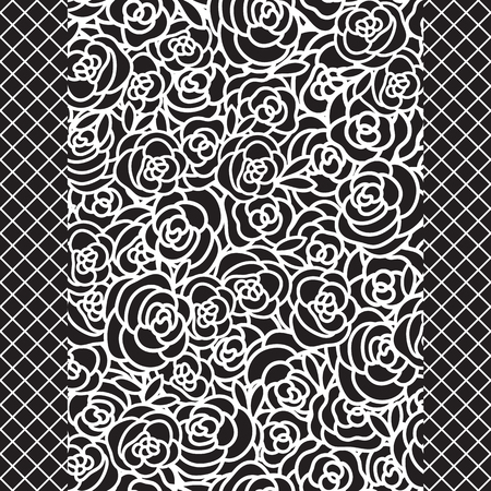 Vector White hand drawn flower seamless pattern on a black color background.