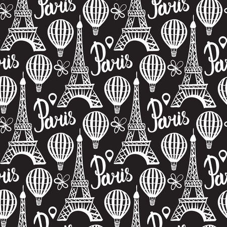 Paris card. Eiffel Tower and Balloon hand drawing.