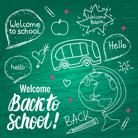 Welcome Back to school. Vector hand draw set elements isolated on green chalk board. Ilustração