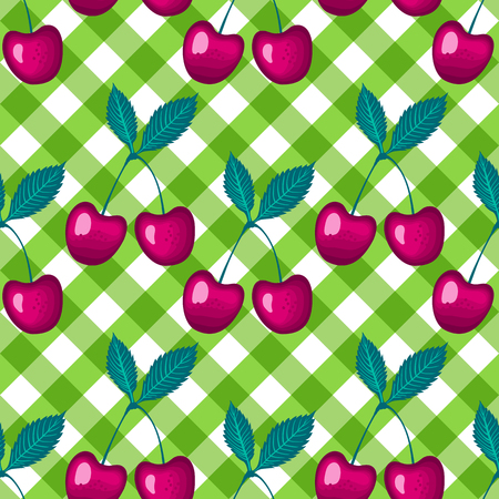 Vector Cherry berry on green a checkered vichy background Seamless pattern. Çizim