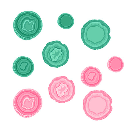 Vector Set pink and green stone illustration isolated on white background Illustration