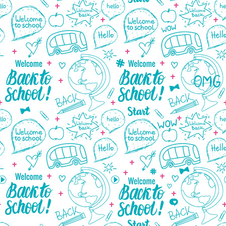 Welcome Back to school seamless pattern. Vector hand draw set elements isolated on white background.