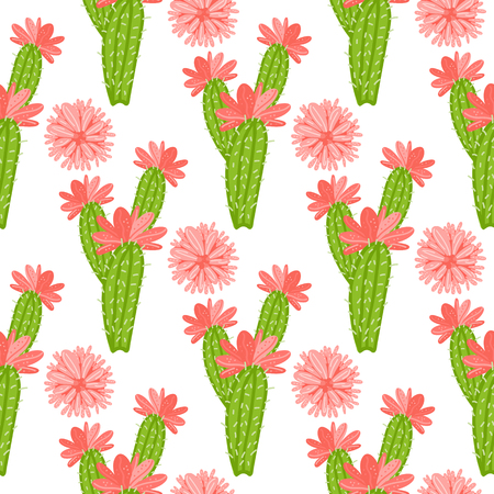 Vector Cactus with flowers pattern isolated on white background. Ilustração
