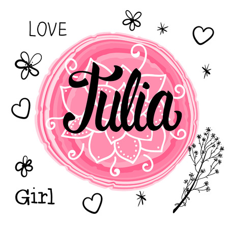 Vector illustration with Lettering Name Julia. Hand drawn. Stock Illustratie