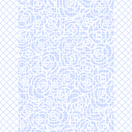 Vector Cute Hand drawing of a rose band on blue fishnet tights background. Rectangular frame.