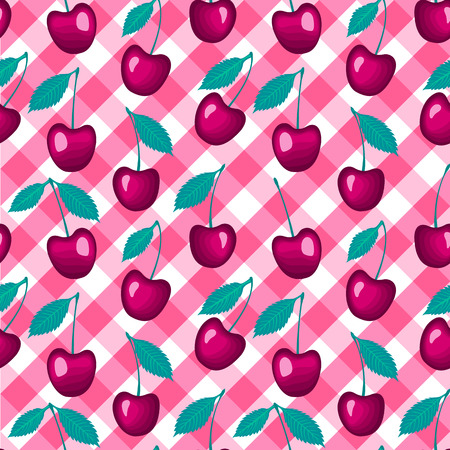 Vector Seamless pattern. Cherry on a checkered vichy background.