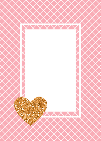 Vector Cute fashion card banner. Cage is white on a pink fishnet tights background. Heart of gold glitter.