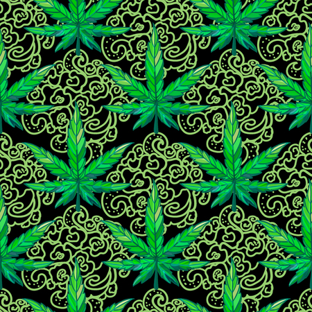 Vector Seamless pattern sheet of cannabis with ornament. Illustration