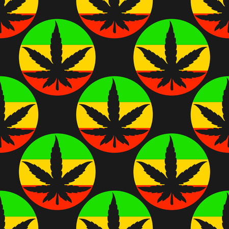 Vector Seamless pattern silhouette sheet of cannabis with bright rasta circles. Illustration