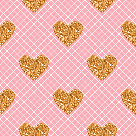 Vector seamless pattern. Pink with white fishnet tights background. Heart of gold glitter. Illustration