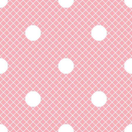 Vector seamless pattern. Pink with white fishnet tights background. White polka dot ornament.
