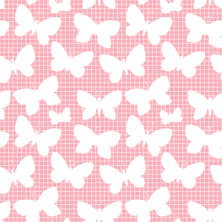 Butterfly silhouette. Pink seamless pattern mesh texture. Vector illustration isolated on a pink trend color background.