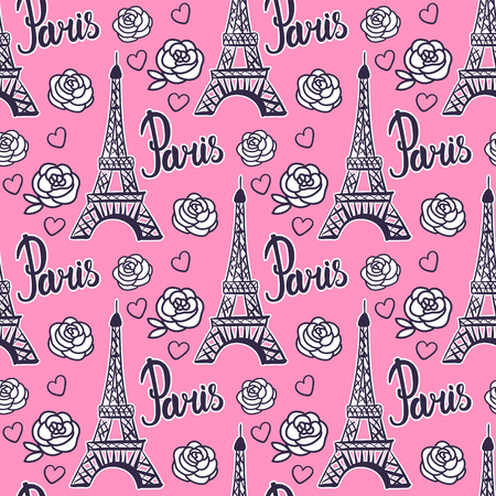 Seamless pattern Paris Eiffel Tower. Modern Bright design for girls. Vector illustration is isolated on pink background.