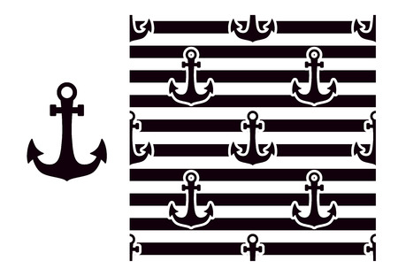 Marine anchor. Seamless striped pattern with black and white. Vector illustration isolated.