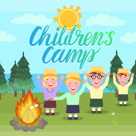 Childrens camp vector illustration. Girl and the boys are waving hands and picnic hike near the fire.