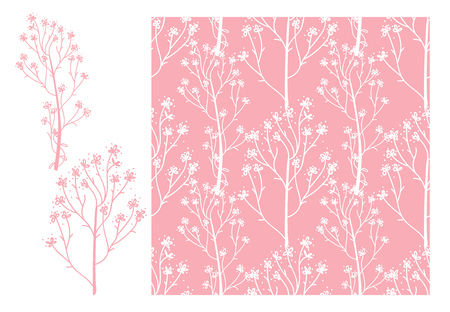 Vector Cute wedding seamless pattern. White hand drawn flower sprigs isolated on a pink color trend background.