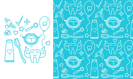 Vector Set Dental care symbols. Seamless pattern and signs isolated on modern color background.