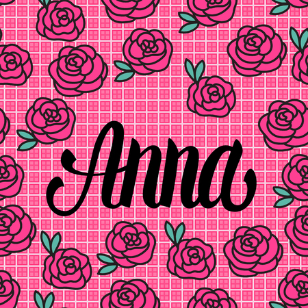 Tarjeta de nombre Anna con preciosas rosas rosadas. Ilustración vectorial