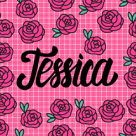Jessica Name card with lovely pink roses. Vector illustration. Vettoriali