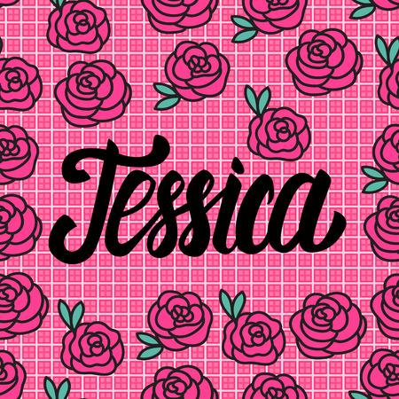 Jessica Tarjeta de presentación con hermosas rosas rosadas. Ilustración vectorial Ilustración de vector
