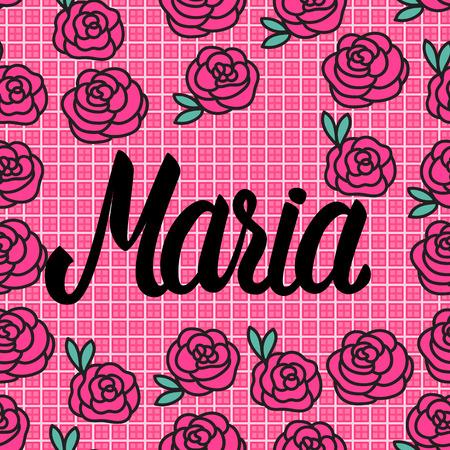 Tarjeta de presentación de Maria con preciosas rosas rosadas. Ilustración vectorial.