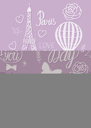 Wedding in a vintage Parisian style fashion. Set illustrations elements Eiffel Tower, air balloon and lettering inscription. Иллюстрация