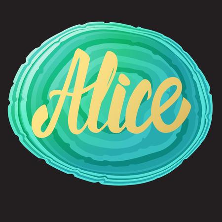 Tarjeta de Alice. Nombre de inscripción de caligrafía de letras doradas. Ilustración de vector. Diseño de tendencia moderna.