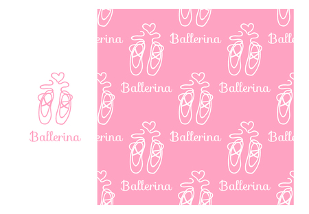 Vector Ballerina Pointe. Seamless repeating pattern isolated on pink background. Modern Design for Girls Stock Photo