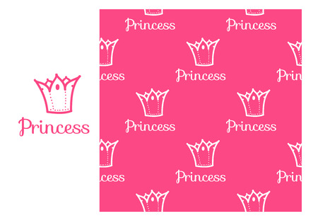 Vector Princess Crown. Seamless repeating pattern isolated on pink background. Modern Design for Girls Stock Photo
