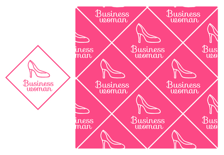 Vector Business woman. Seamless repeating pattern isolated on pink background. Modern Design for Girls
