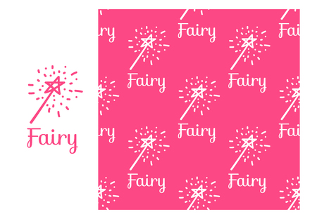 Vector Fairy magic wand. Seamless repeating pattern isolated on pink background. Modern Design for Girls Stock Photo