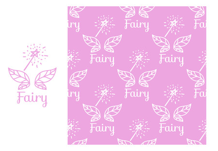 Vector Fairy wings and magic wand. Seamless repeating pattern isolated on pink background. Modern Design for Girls Stock Photo