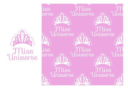 Vector Miss Universe tiara. Seamless repeating pattern isolated on pink background. Modern Design for Girls