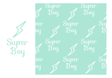 Vector Super Boy. Seamless repeating pattern isolated on pink background.