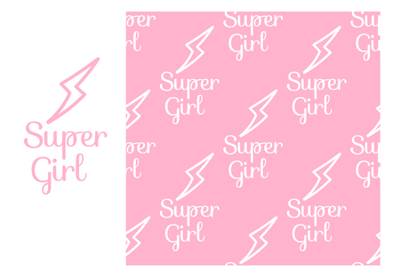Super Girl. Seamless repeating pattern isolated on pink background. Modern Design for Girls. Vector sign