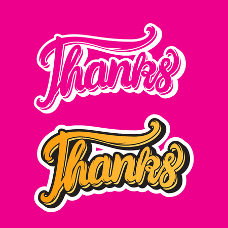 Thanks hand lettering inscription stickers Vector illustration