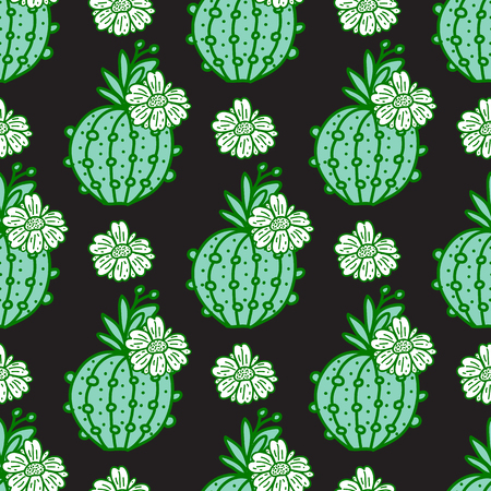 Green hand drawn cactus with flowers. Seamless pattern. Vector illustration isolated on dark background