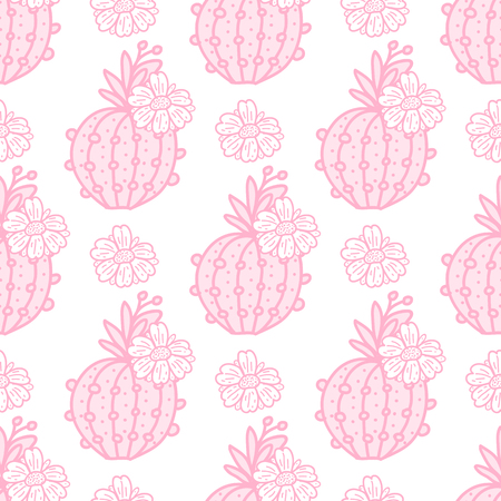 Cute pink cactus with flowers seamless pattern. Vector illustration hand drawing cacti isolated on white background.
