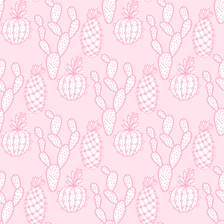 Cute set cactus seamless pattern. Vector illustration hand drawing cacti isolated on pink background.