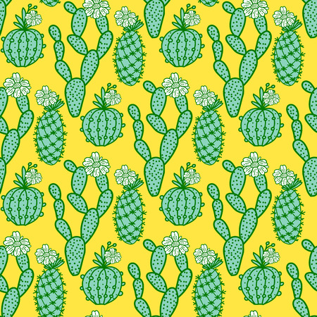 Set hand drawn cactus with flowers. Seamless pattern. Vector illustration isolated on yellow background Иллюстрация