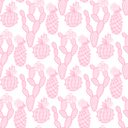 Cute set cactus seamless pattern. Vector illustration hand drawing pink cacti isolated on white background.