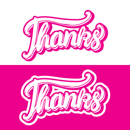 Thanks hand lettering inscription stickers Vector illustration isolated on white background