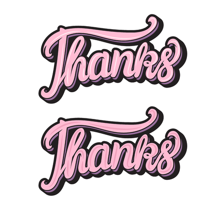 Thanks hand lettering inscription Vector illustration isolated on white background
